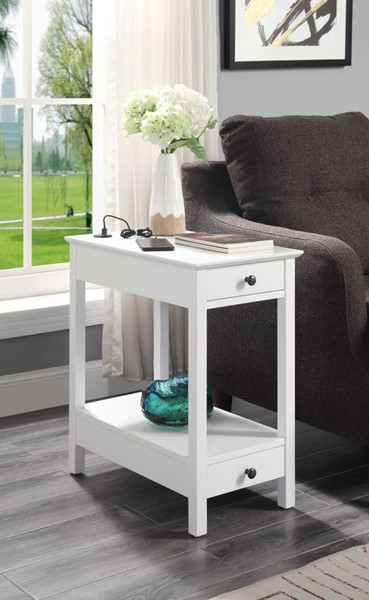Acme Furniture Byzad White USB Charging Dock Side Table ACM-97741