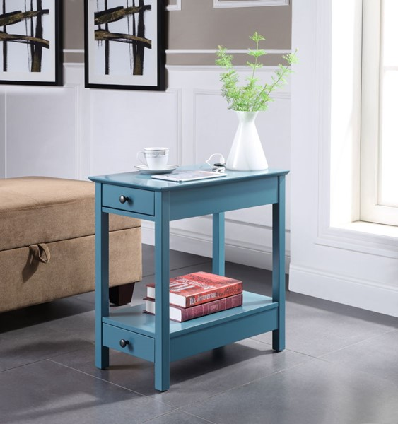 Acme Furniture Byzad Teal USB Charging Dock Side Table ACM-97742