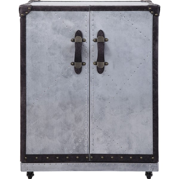 Acme Furniture Brancaster Antique Ebony Aluminum Wine Cabinet ACM-97802