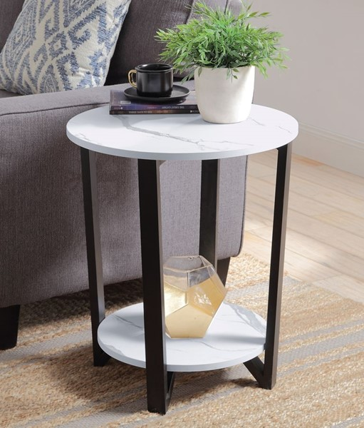 Acme Furniture Taurus White Faux Marble Round Accent Table ACM-97902