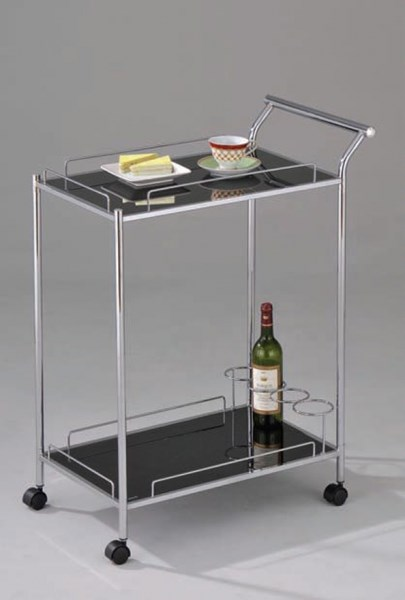 Mace Chrome Black Metal Glass Serving Cart ACM-98000