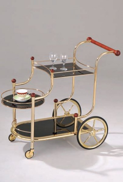 Lacy Gold Cherry Black Metal Glass Serving Cart ACM-98006
