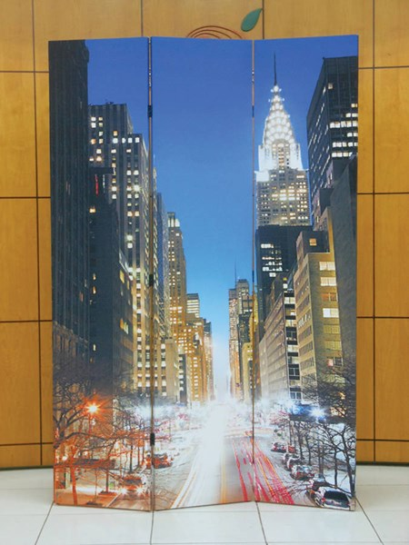 Trudy 3 Panel Wooden Screen W/Two Side Scenery ACM-98021