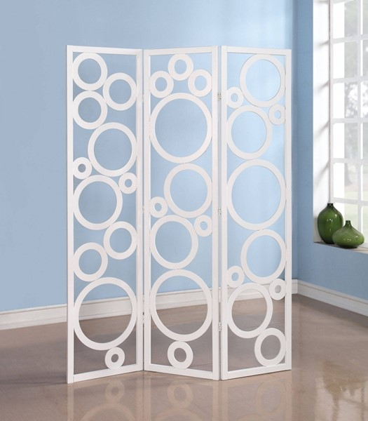 Trudy White 3 Panel Wooden Screen W/Adjustable Slats ACM-98025
