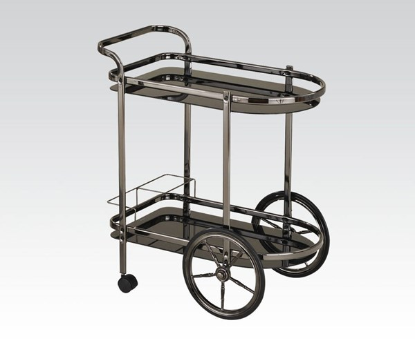 Anil Black Metal Glass Serving Cart w/4 Casters ACM-98096