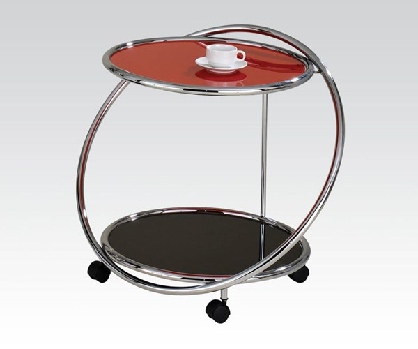 Daksh Chrome Metal Glass Serving Cart w/4 Casters ACM-98097