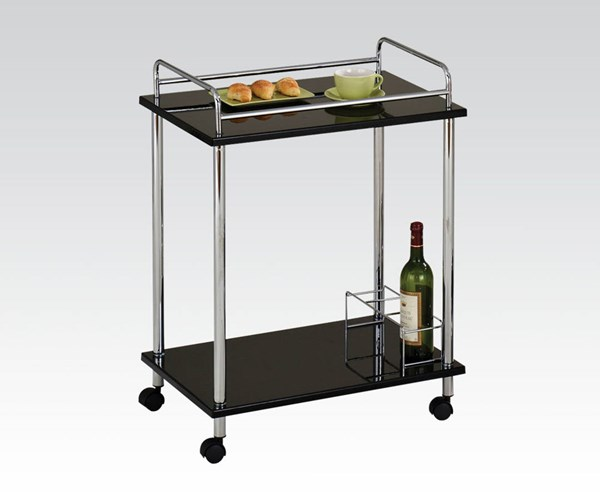 Fergus Chrome Metal Glass Serving Cart w/4 Casters ACM-98098