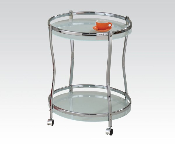 Corey Chrome Metal Glass Open Storage Serving Cart ACM-98100