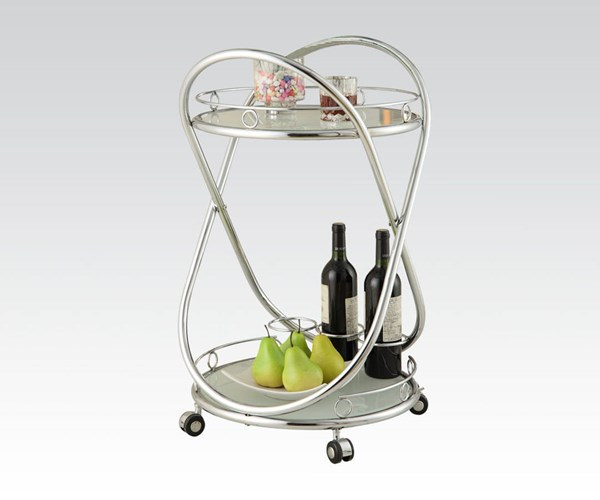 Ansis Chrome White Metal Glass Serving Cart ACM-98126
