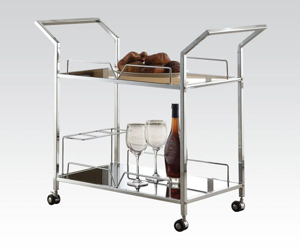 Usha Chrome Black Metal Glass Serving Cart ACM-98129