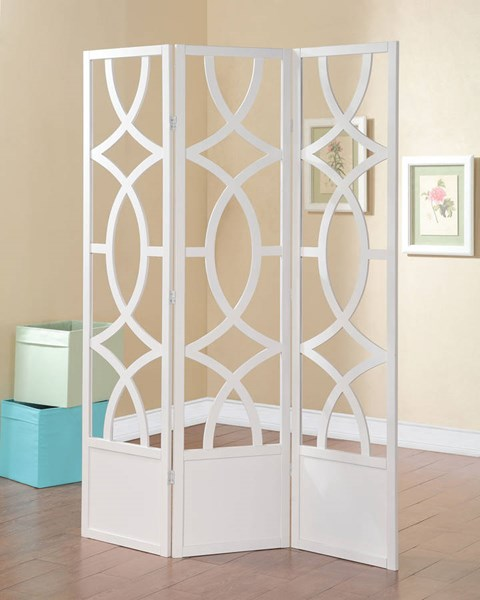 Dina White Wood 3 Panel Wooden Folding Screen ACM-98159