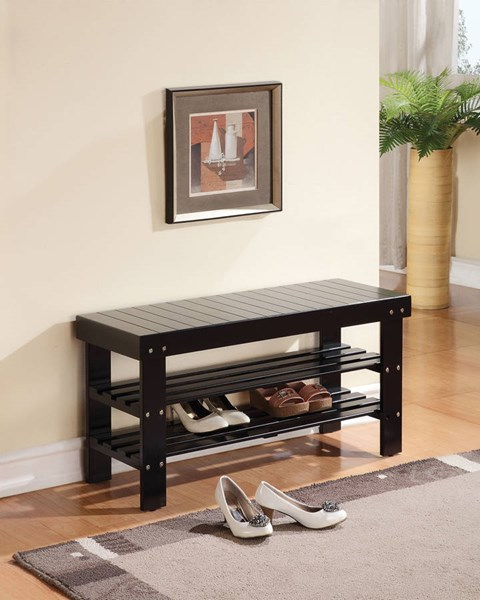 Ramzi Black Wood Armless Bench w/2 Shelves ACM-98163