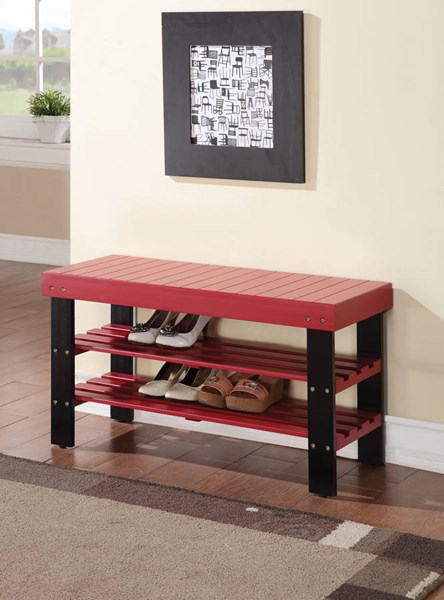 Ramzi Red Wood Armless Bench w/2 Shelves ACM-98164