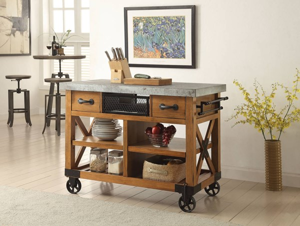 Kailey Antique Oak Wood MDF Metal Kitchen Cart ACM-98182