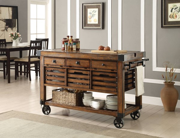 Kaif Distress Chestnut Poplar Wood MDF Metal Kitchen Cart ACM-98184