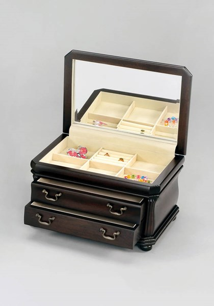 2 Edolie Antique Black Wood Glass Jewelry Boxes ACM-98224