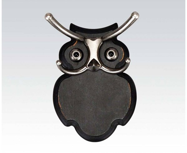 Odelia Antique Black Wood Owl Design Wall Hook ACM-98262
