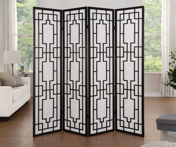 Acme Furniture Cecilia Black Four Panel Screen Room Divider The