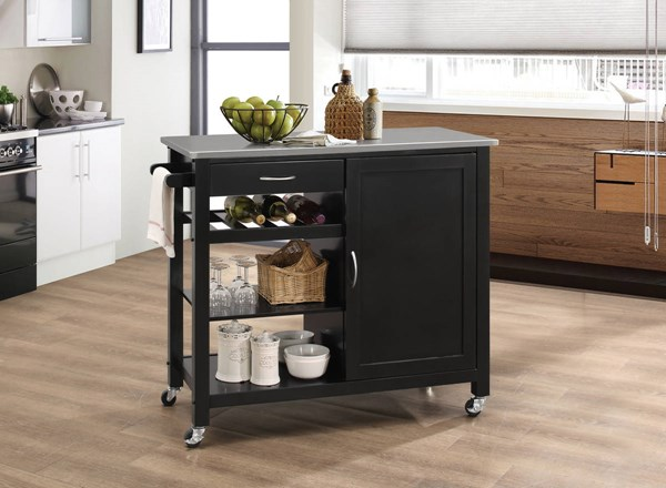 Acme Furniture Ottawa Black Kitchen Cart ACM-98317