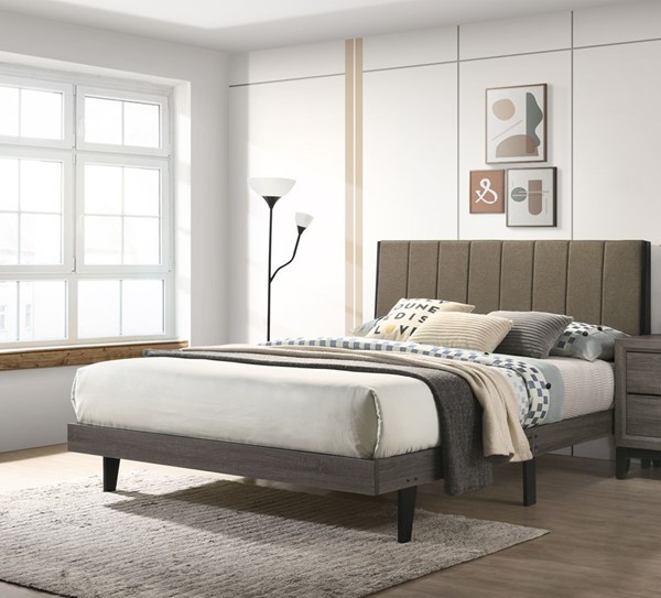 Acme Furniture Valdemar Brown Weathered Gray Queen Bed ACM-BD00571Q
