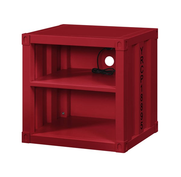 Acme Furniture Cargo Red Metal USB Nightstand ACM-35951