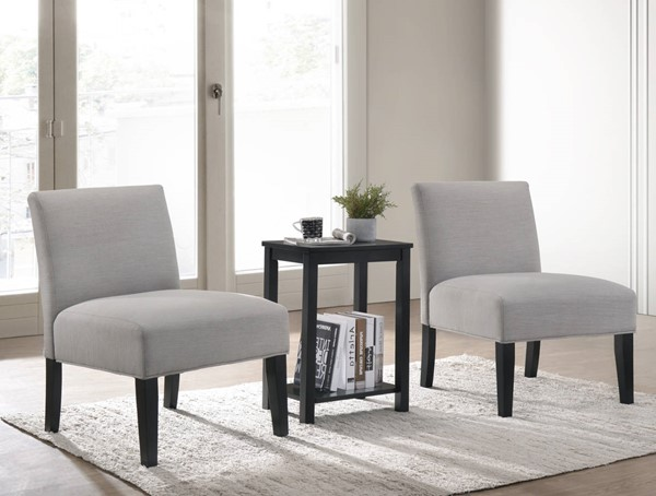Acme Furniture Bryson Dove Gray Black 3pc Chair and Table ACM-59840