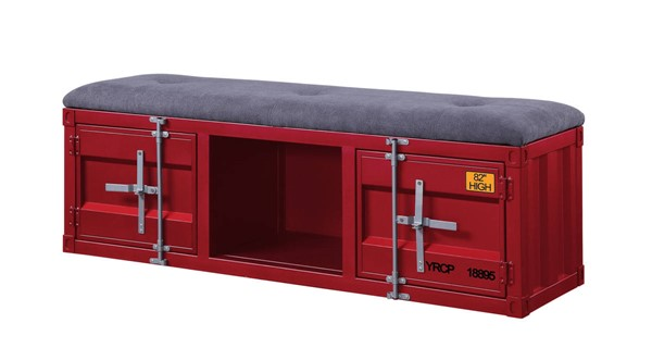 Acme Furniture Cargo Gray Red Storage Bench ACM-35956