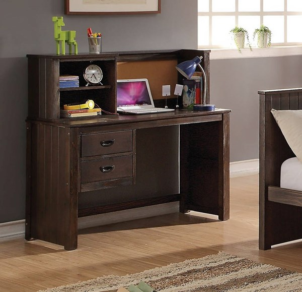 Hector Casual Antique Charcoal Brown Wood Kids Desk & Hutch ACM-KBR-380-S1