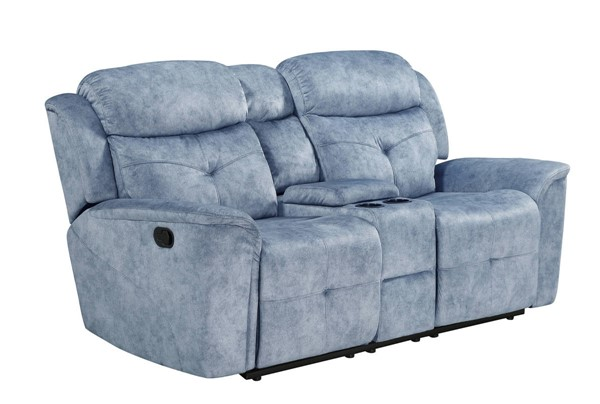Acme Furniture Mariana Silver Blue Fabric Loveseat with Console ACM-55036