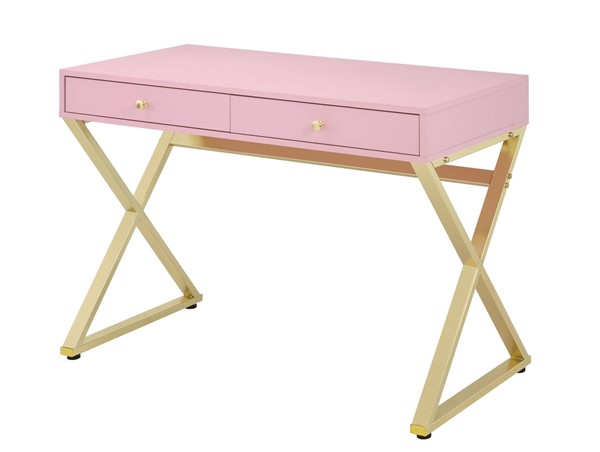 Acme Furniture Coleen Pink Gold Desk ACM-92612