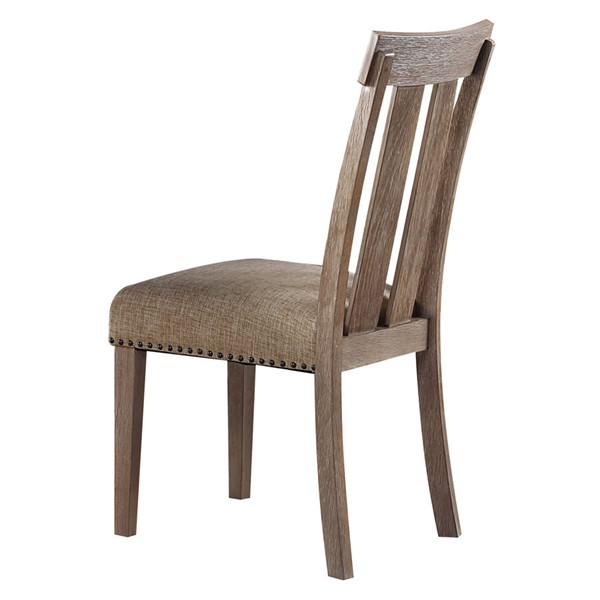 2 Acme Furniture Nathaniel Maple Fabric Wood Slatted Back Side Chairs ACM-62332