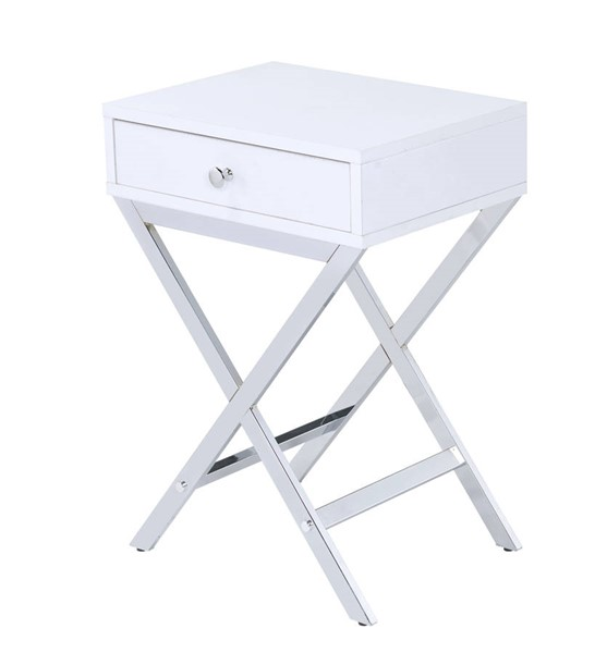 Acme Furniture Coleen White Chrome Side Table ACM-82696