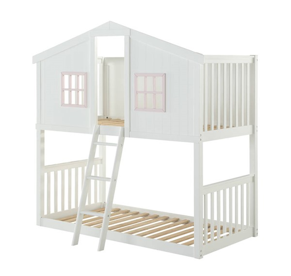 Acme Furniture Rohan Cottage White Pink Wood Twin over Twin Bunk Bed ACM-37410