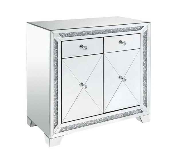 Acme Furniture Noralie Clear Mirror Faux Diamond Storage Console Table ACM-97645
