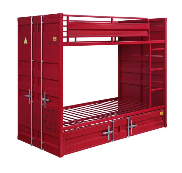 Acme Furniture Cargo Red Metal Twin over Twin Trundle Bunk Bed ACM-3791-TTT-BB