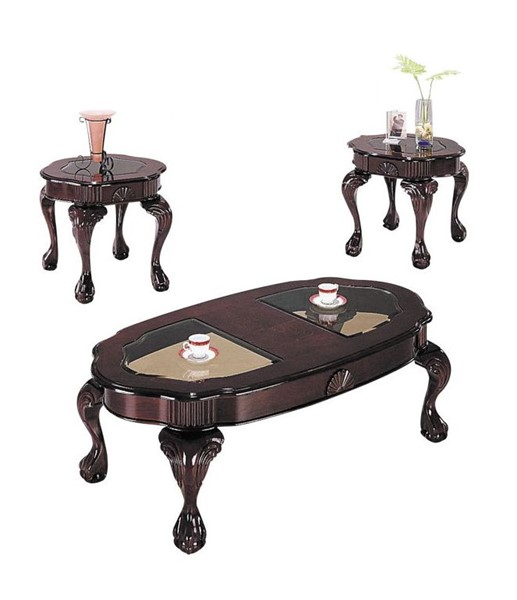 Acme Furniture Canebury Cherry Smoky Glass 3pc Coffee Table Set ACM-08195