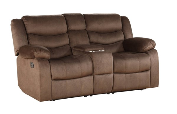 Acme Furniture Angelina Dark Brown Fabric Loveseat with Console ACM-55046