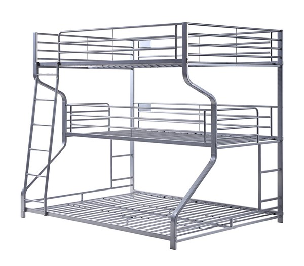 Acme Furniture Caius II Silver Metal Twin Full Queen Triple Bunk Bed ACM-37790