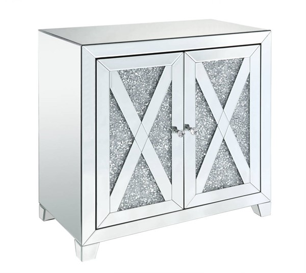 Acme Furniture Noralie Clear Mirror Glass Faux Diamond Storage Console Table ACM-97646