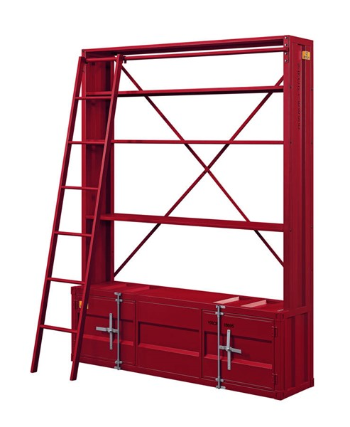 Acme Furniture Cargo Red Bookshelf and Ladder ACM-39897