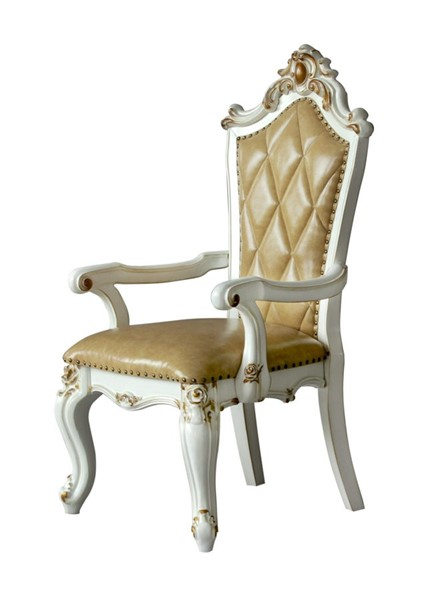 2 Acme Furniture Picardy Antique Pearl Arm Chairs ACM-63463