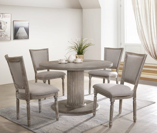 Acme Furniture Gabrian Gray Fabric Wood 5pc Dining Room Set ACM-6017-DR-S2