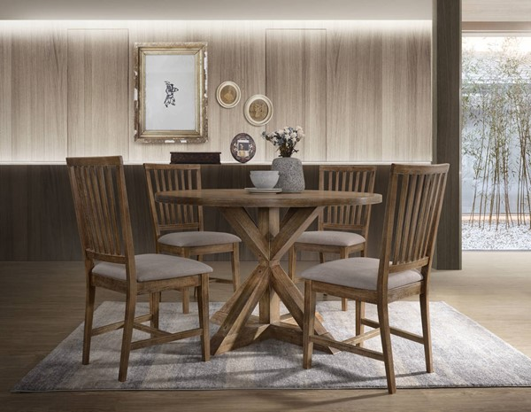 Acme Furniture Wallace II Tan Linen Weathered Oak Wood 5pc Dining Room Set ACM-7231-DR-S1
