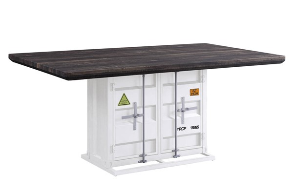 Acme Furniture Cargo Antique Walnut Wood White Metal Dining Table ACM-77880