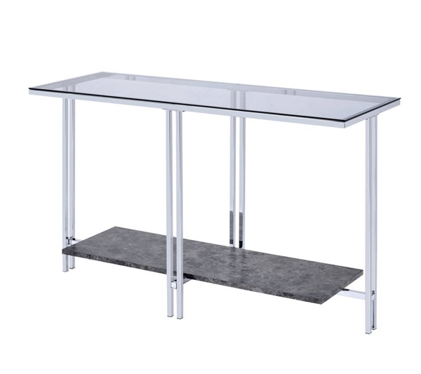 Acme Furniture Liddell Chrome Metal Glass Wood Veneer Sofa Table ACM-83929