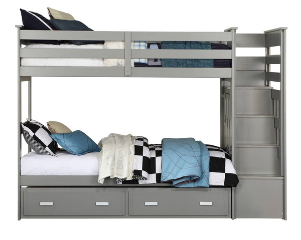Acme Furniture Allentown Gray Storage Ladder and Trundle Twin Over Twin Bunk Bed ACM-37870