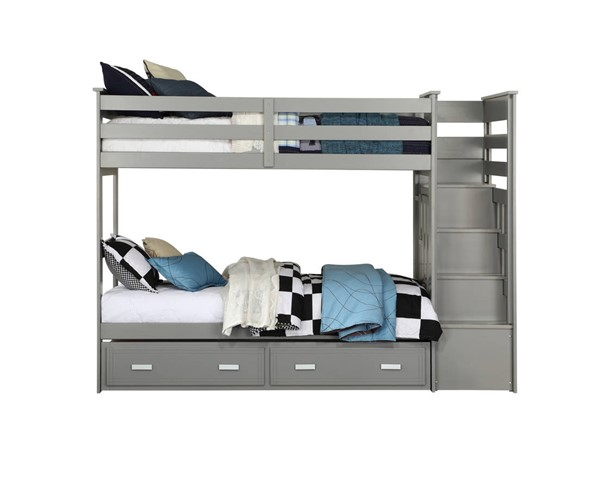 Acme Furniture Allentown Gray Twin over Twin Storage Ladder and Trundle Bunk Bed ACM-37870