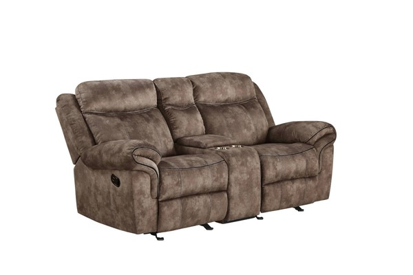 Acme Furniture Zubaida Chocolate Velvet Loveseat with USB Dock and Console ACM-55021