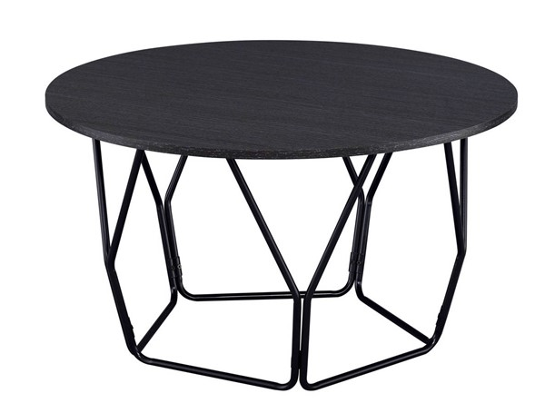 Acme Furniture Sytira Espresso Wood Black Metal Coffee Table ACM-83950