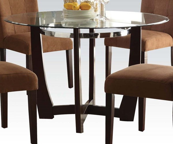Baldwin Casual Walnut Wood Round Dining Table W/Clear Tempered Glass ACM-07815